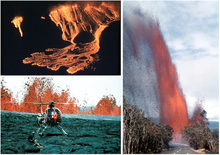 Hawaiian eruptions. Top left: Fissure eruption at Kīlauea Iki Crater in November of 1959. Bottom left: Lava fountains from an eruption of Mauna Loa Volcano in 1984. Right: Lava fountain from Kīlauea Iki Crater eruption in November of 1959.