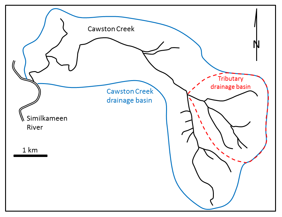 Figure 13.4 Cawston Creek near Keremeos, B.C. The blue line shows the extent of the drainage basin. The dashed red line is the drainage basin of one of its tributaries. [SE]