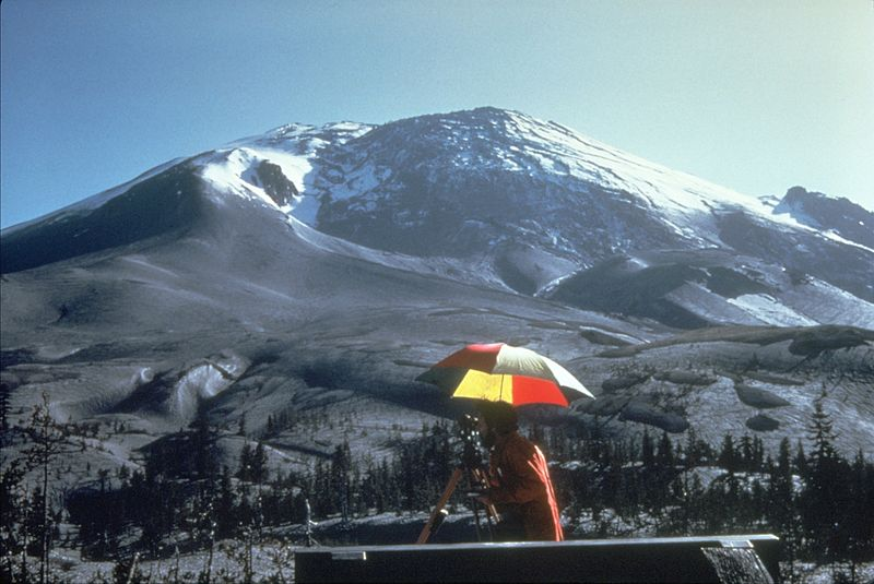 Bulge forming on the north side of Mt. St. Helens, April 27 1980.
