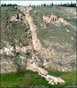 Figure 15.16 A slump (left) and an associated mudflow (centre) at the same location as Figure 15.15, near Lethbridge, Alberta. [SE 2005]