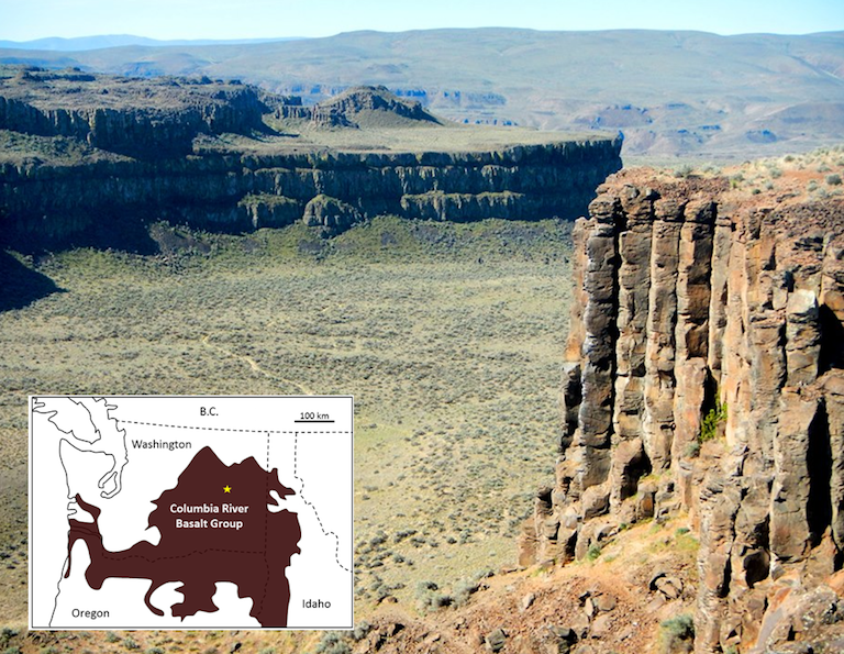 Part of the Columbia River Basalt Group at Frenchman Coulee, eastern Washington, United States. All of the flows visible here have formed large (up to two metres in diameter) columnar basalts, a result of relatively slow cooling of flows that are tens of m thick. The inset map shows the approximate extent of the 17 to 14 Ma Columbia River Basalts, with the location of the photo shown as a star.