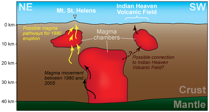Magma chambers beneath Mt. St. Helens and Indian Heaven Volcanic Field, sketched from iMUSH (Imaging Magma Under St. Helens) project results. In a 24 hour period after the May 18, 1980 eruption, earthquakes in and around the smaller magma chamber suggested migration of magma (yellow arrows). Earthquakes recorded between 1980 and 2005 suggest migration of magma within a larger chamber that extends to the mantle (black arrows). The larger magma chamber might feed another smaller chamber beneath the Indian Heaven Volcanic Field.