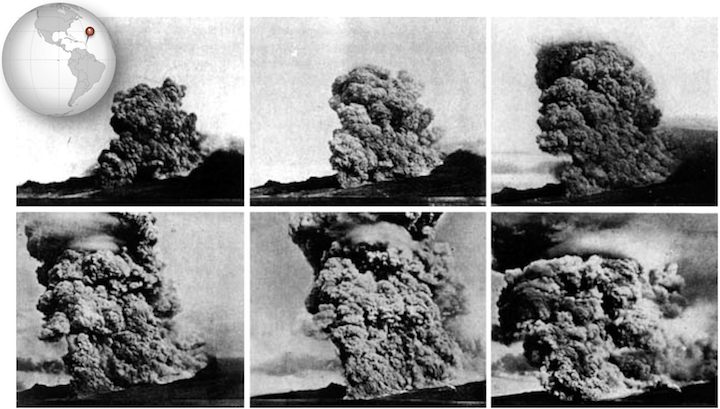 A series of photos taken by Alfred Lacroix during the eruption of Mt. Pelée on May 8, 1902 showing the development of the pyroclastic flow that destroyed the city of St. Pierre and nearly 30,000 inhabitants.