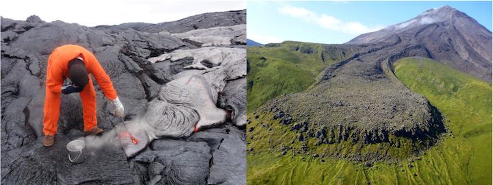 Lava flows. Left: A geologist collects a sample from a basaltic lava flow in Hawaii. Right: an andesitic lava flow from Kanaga Volcano in the Aleutian Islands. Source: Left- U. S. Geological Survey (2014) Public Domain; Right- Michelle Combs, U. S. Geological Survey (2015) Public Domain