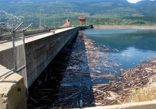 Revelstoke Dam and Revelstoke Lake on the Columbia River at Revelstoke, BC [SE]