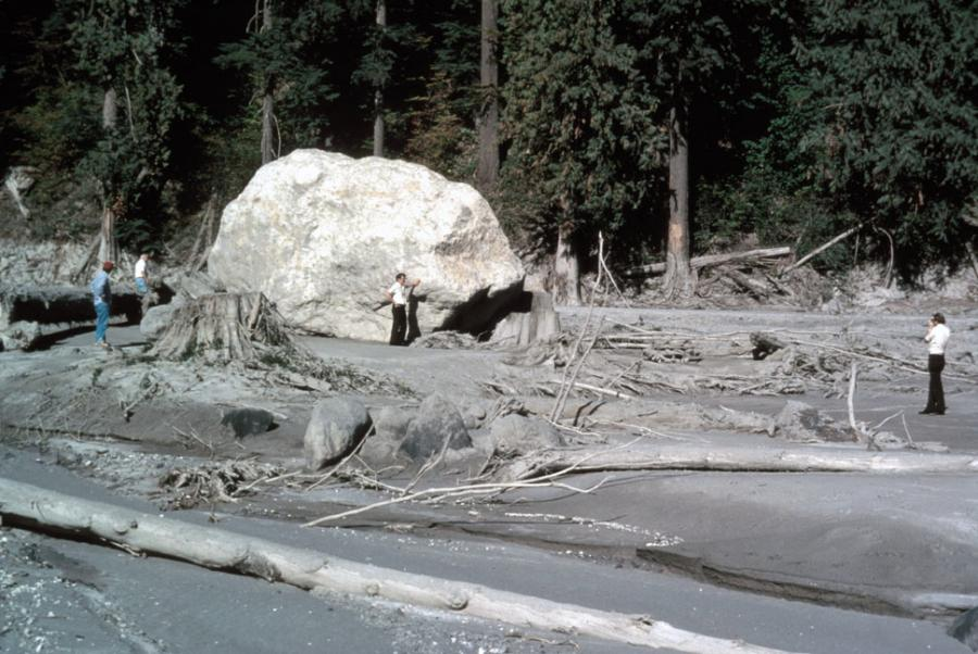 Mud left behind from the lahar after the May 18, 1980 eruption of Mt. St. Helens. The lahar carried an enormous boulder to its present location.