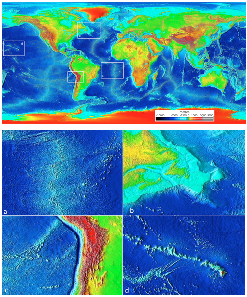 Figure 4.9 Ocean floor bathymetry (and continental topography). Inset (a): the mid-Atlantic ridge, (b): the Newfoundland continental shelf, (c): the Nazca trench adjacent to South America, and (d): the Hawaiian Island chain. [SE after NOAA, http://bit.ly/1OtRMc0]