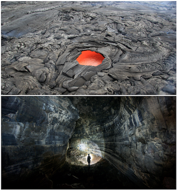 Lava tubes. Top: An opening in the roof of a lava tube (called a skylight) permitting a view of lava flowing through the tube (Puʻu ʻŌʻō crater, Kīlauea). The opening is approximately 6 m across. Bottom: Inside a lava tube that channelled lava away from Mt. St. Helens in an eruption 1,895 years ago. Sources: Top: U. S. Geological Survey (2016) Public Domain. Bottom: Thomas Shahan (2013) CC BY-NC 2.0