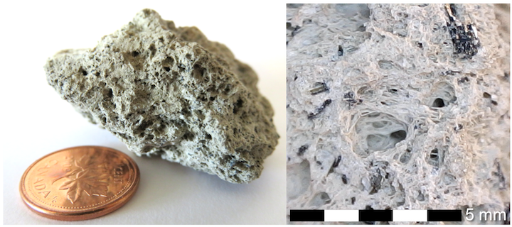 Lapilli-sided pumice fragment collected from the shores of Lake Atitlán in Guatemala by H. Herrmann. The lake is a flooded caldera, and is surrounded by active volcanoes. Right: magnified view showing vesicular structure and amphibole crystals (dark patches). Source: Karla Panchuk (2017) CC BY 4.0