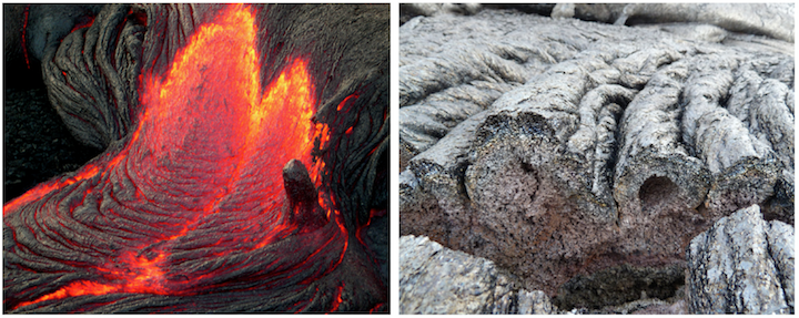 Ropy lava (pahoehoe) from Hawaii. Left: Ropy texture forming as a thin surface layer of lava cools and is wrinkled by the motion of lava flowing beneath it (near). Right: Cross-section view of ropy lava. Sources: Left: Z. T. Jackson (2005) CC BY NC-ND 2.0; Right: Fiddledydee (2011) CC BY-NC 2.0.